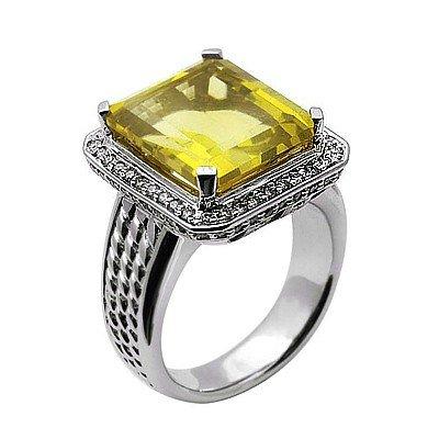 GENUINE 9.65 ctw DIAMOND and LEMON QUARTZ RING 14K WHIT