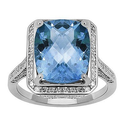 GENUINE 6.7 ctw DIAMOND and BLUE TOPAZ RING 14K WHITE G