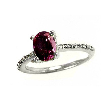 GENUINE 1.6 ctw DIAMOND and RUBY RING 14K WHITE GOLD