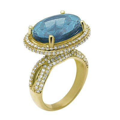 GENUINE 10.4 ctw DIAMOND and BLUE TOPAZ RING 14K YELLOW