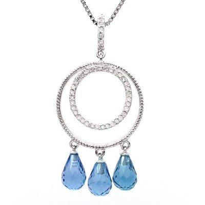 GENUINE 3.23 ctw DIAMOND and BLUE TOPAZ PENDANT 14K WHI