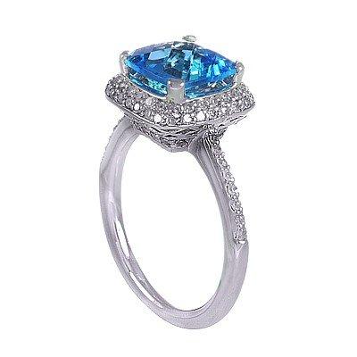 GENUINE 2.94 ctw DIAMOND and BLUE TOPAZ RING 14K WHITE