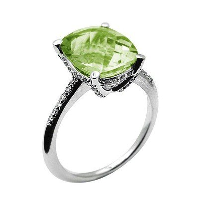 GENUINE 6.27 ctw DIAMOND and GREEN AMETHYST RING 14K WH