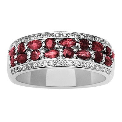 GENUINE 1.43 ctw DIAMOND and RUBY RING 14K WHITE GOLD
