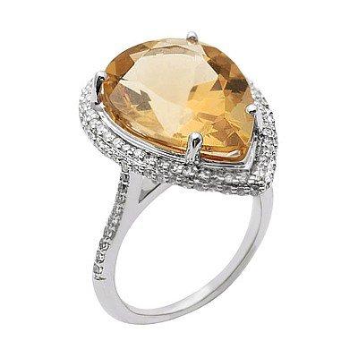 GENUINE 11.57 ctw DIAMOND and CITRINE RING 14K WHITE GO