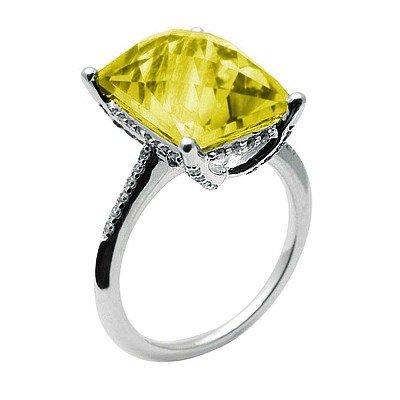 GENUINE 7.29 ctw DIAMOND and LEMON QUARTZ RING 14K WHIT