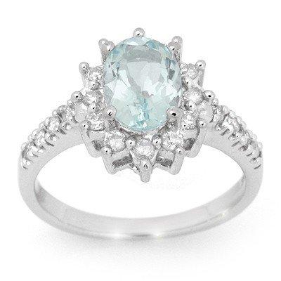 Genuine 2.20 ctw Aquamarine & Diamond Ring 14K Gold