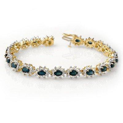 Genuine 12.0 ctw Sapphire & Diamond Bracelet 14K Gold