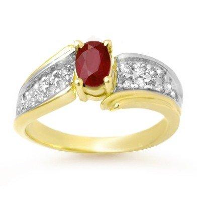 Genuine 1.43 ctw Ruby & Diamond Ring 10K Yellow Gold