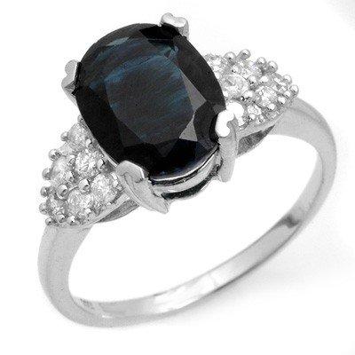 Genuine 3.8 ctw Sapphire & Diamond Ring 10K White Gold