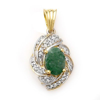 Genuine 3.17 ctw Emerald & Diamond Pendant Yellow Gold