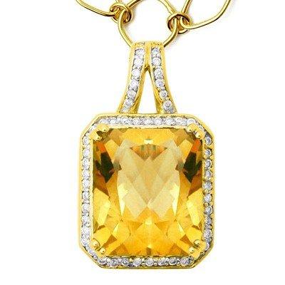 GENUINE 8.35 ctw DIAMOND and CITRINE  PENDANT 14K YELLO