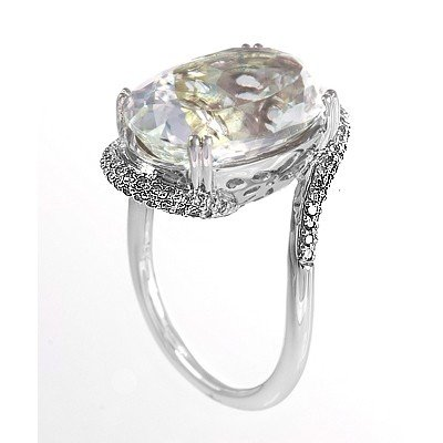 GENUINE 11.45 ctw DIAMOND and WHITE TOPAZ RING 14K WHIT