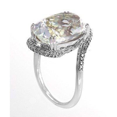 GENUINE 11.45 ctw DIAMOND and WHITE TOPAZ RING 14K WHIT