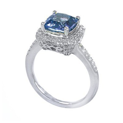 GENUINE 2.47 ctw DIAMOND and BLUE TOPAZ RING 14K WHITE