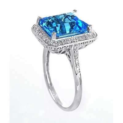 GENUINE 6.13 ctw DIAMOND and BLUE TOPAZ RING 14K WHITE