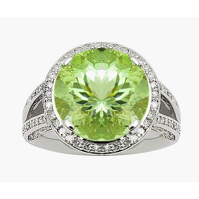 GENUINE 6.87 ctw DIAMOND and GREEN PERDIOT RING 14K WHI