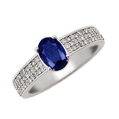 GENUINE 1.35 ctw DIAMOND and BLUE SAPPHIRE RING 14K WHI