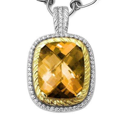 GENUINE 11.27 ctw DIAMOND and CITRINE  PENDANT 14K 2TON