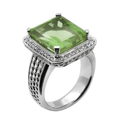 GENUINE 9.65 ctw DIAMOND and GREEN AMETHYST RING 14K WH