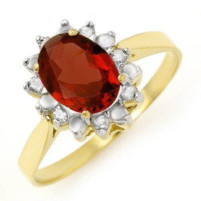 Genuine 1.58 ctw Garnet & Diamond Ring 10K Yellow Gold