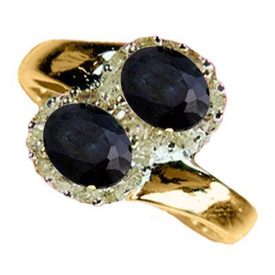Genuine 1.63 ctw Sapphire & Diamond Ring 10K Yellow Gol