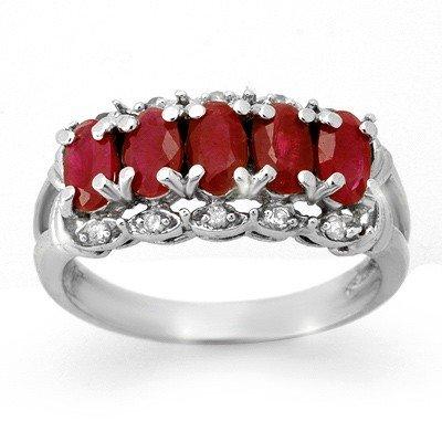 Genuine 2.0 ctw Ruby & Diamond Ring 10K White Gold