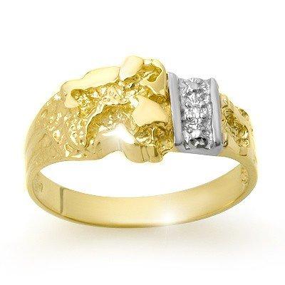 Natural 0.01 ctw Diamond Men's Ring 10K Yellow Gold