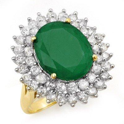 Genuine 10.83ctw Emerald & Diamond Ring 14K Yellow Gold
