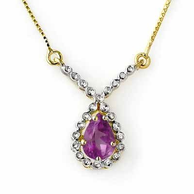Genuine 0.60 ctw Amethyst Necklace 10K Yellow Gold