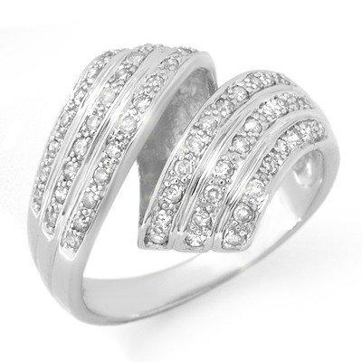 Natural 0.70 ctw Diamond Ring 10K White Gold