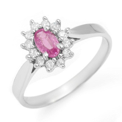 Genuine 0.83 ctw Pink Sapphire & Diamond Ring 14K Gold