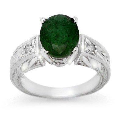 Genuine 2.89 ctw Emerald & Diamond Ring 10K White Gold