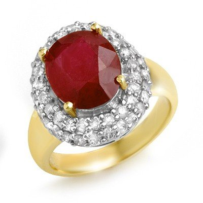 Genuine 5.0 ctw Ruby & Diamond Ring 14K Yellow Gold
