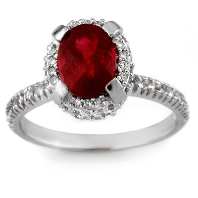Genuine 2.50 ctw Ruby & Diamond Ring 14K White Gold