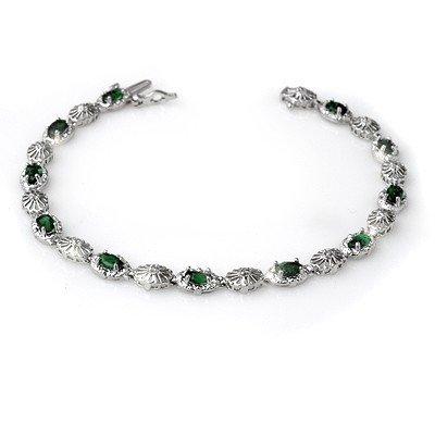 Genuine 2.62 ctw Emerald & Diamond Bracelet 10K Gold