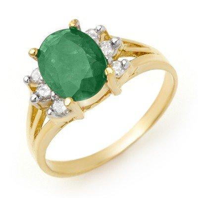 Genuine 2.03 ctw Emerald & Diamond Ring 14K Yellow Gold
