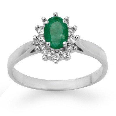 Genuine 0.70 ctw Emerald & Diamond Ring 14K White Gold