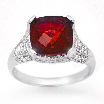 Genuine 4.35 ctw Rubellite & Diamond Ring 14k Gold