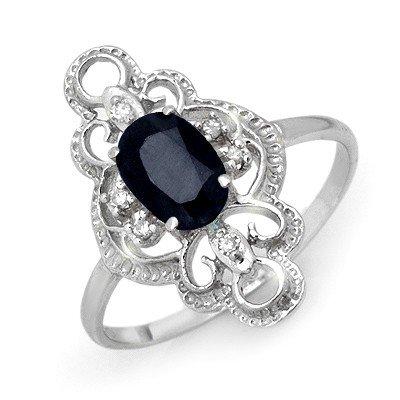 Genuine 1.10 ctw Sapphire & Diamond Ring 10K White Gold