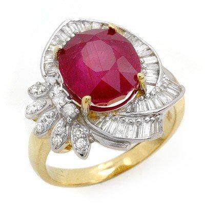 Genuine 5.2 ctw Ruby & Diamond Ring 14K Yellow Gold