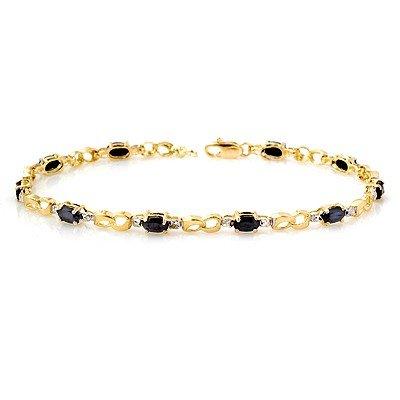 Genuine 3.42 ctw Sapphire & Diamond Bracelet 10K Gold