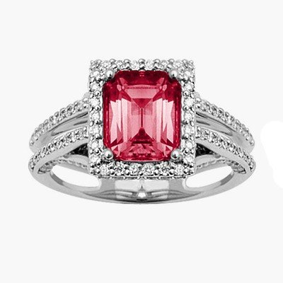 GENUINE 2.2 ctw DIAMOND and RUBY RING 14K WHITE GOLD