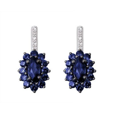 GENUINE 1.35 ctw DIAMOND and BLUE SAPPHIRE EARRINGS 14K