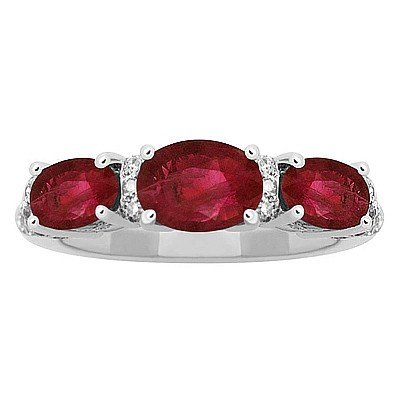 GENUINE 1.97 ctw DIAMOND and RUBY RING 14K WHITE GOLD