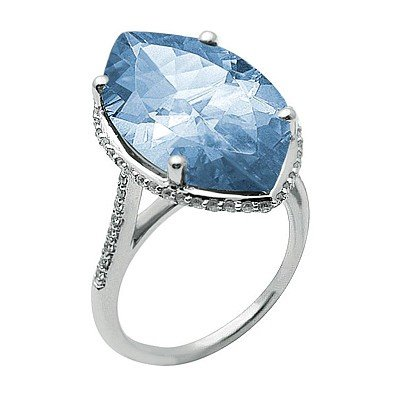 GENUINE 9.3 ctw DIAMOND and BLUE TOPAZ RING 14K WHITE G