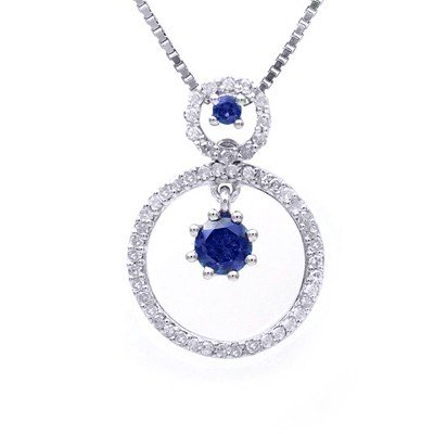 GENUINE 0.96 ctw DIAMOND and BLUE SAPPHIRE PENDANT 14K