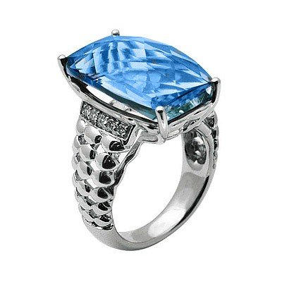 GENUINE 15.1 ctw DIAMOND and BLUE TOPAZ RING 14K WHITE