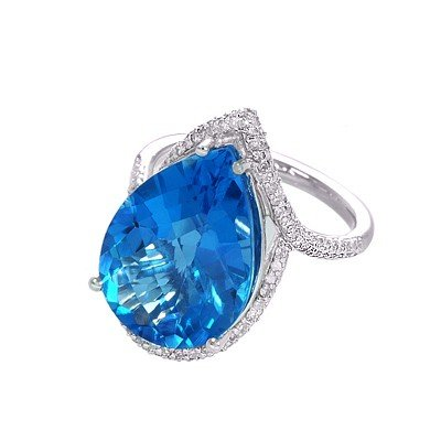 GENUINE 12.68 ctw DIAMOND and BLUE TOPAZ RING 14K WHITE