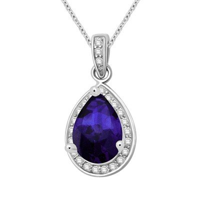 GENUINE 1.26 ctw DIAMOND and BLUE SAPPHIRE PENDANT 14K